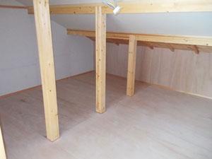 屋根勾配を利用した大容量収納