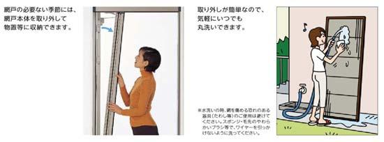 玄関・勝手口用横引収納網戸「しまえるんです」